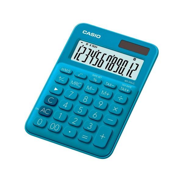 Casio ms-20uc azul minicalculadora de bolsillo con teclas plásticas alimentación solar + pila