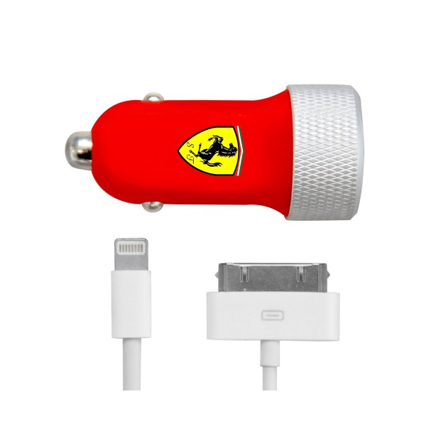 Ferrari fecc002 cargador dual usb de coche  + cable lightning mfi para iphone, ipad, ipod, ipod touch