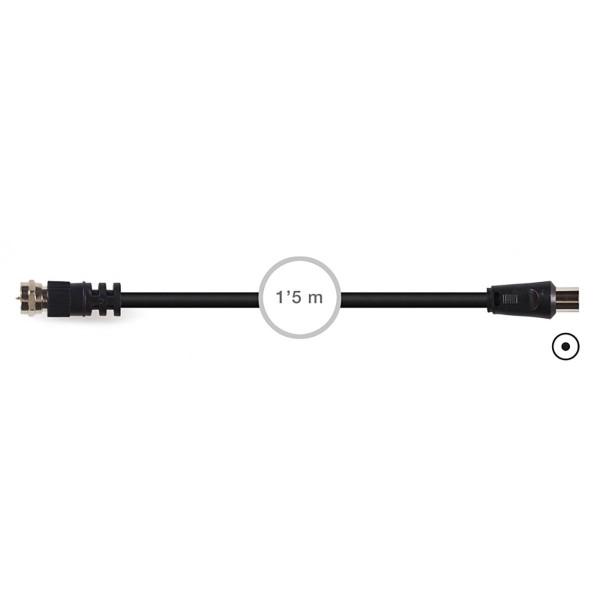 Fonestar sv-570 negro cable de conexión coaxial rg-59u con conector macho tipo f 1.5m