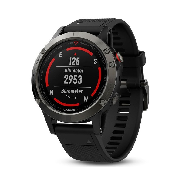 Garmin fenix 5 gris correa negra 47mm reloj multideporte gps glonass bluetooth monitor de frecuencia cardíaca y actividad resistente al agua 10atm