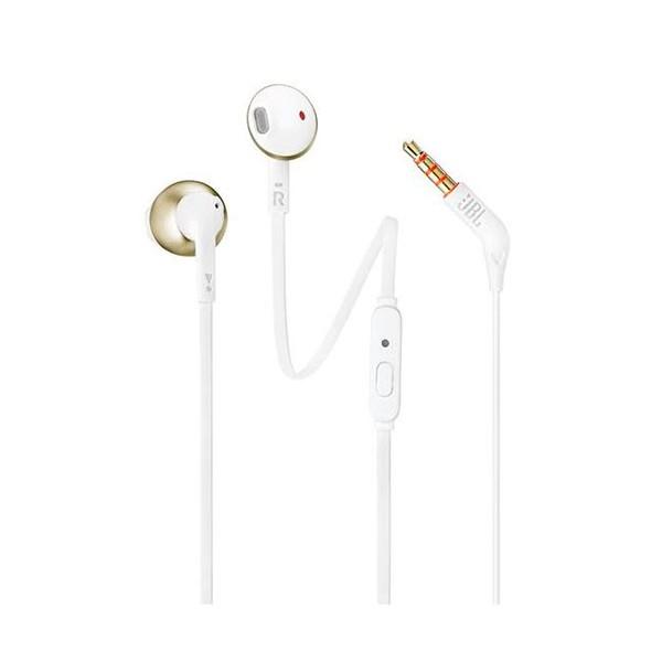 Jbl t205 blanco dorado champagne auriculares ergonómicos con micrófono integrado control remoto cable antienredos incluye bolsa de transporte