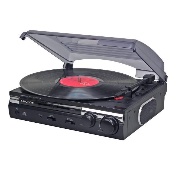 Lauson cl145 tocadiscos con función grabación altavoces estéreo 2 velocidades
