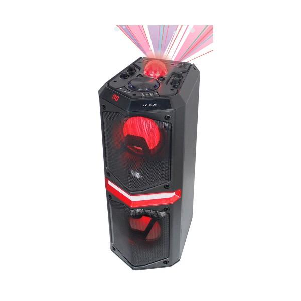 Lauson ss307 altavoz portátil karaoke 40w bluetooth luces led usb lector tarjetas aux radio fm incluye micrófon