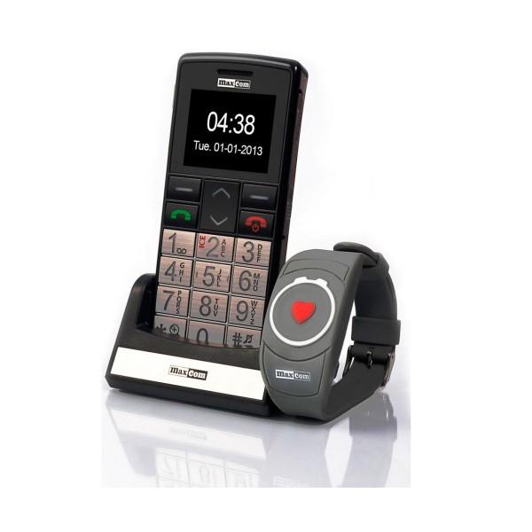 Maxcom mm715bb teléfono móvil senior con pulsera sos 1.8'' cámara radio fm linterna