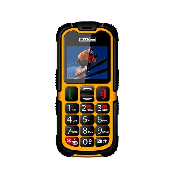 Maxcom mm910 amarillo móvil dual sim rugerizado 2'' cámara vga bluetooth certificado de resistencia ip67