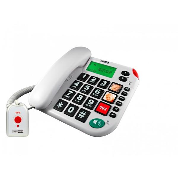 Maxcom teléfono sobremesa / memoria / teclas grandes/ botón sos / senior  kxt 481 blanco