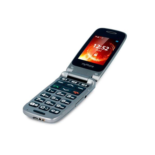 Myphone rumba gris móvil senior con tapa, cámara y bluetooth