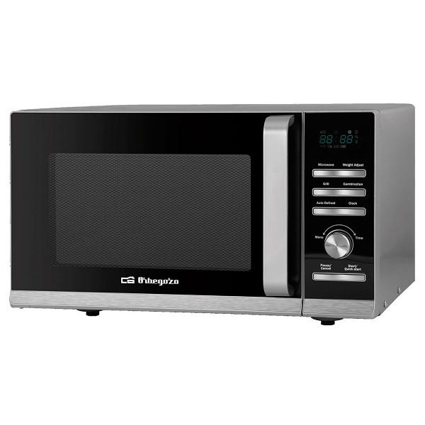 Orbegozo mig 2327 acero inoxidable microondas con grill 900w 23l de capacidad 6 niveles de potencia 36 menús de cocción