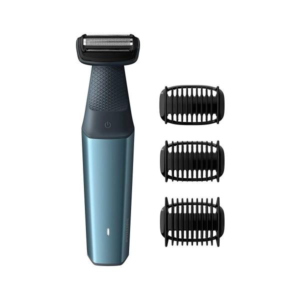 Philips bodygroom series 3000 azul afeitadora corporal apta para la ducha con 3 peines-guía