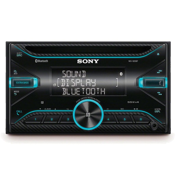 Sonyx wx-920bt receptor de cd con bluetooth 4x55w para el coche extrabass con control por voz usb y aux
