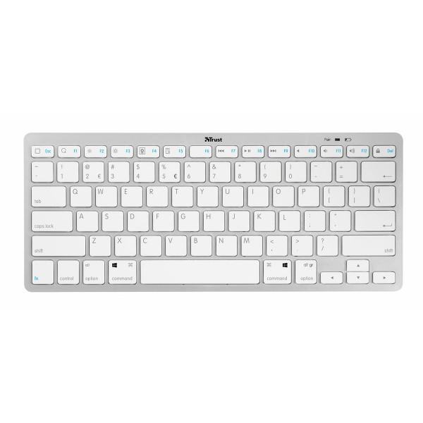 Trust nado blanco teclado inalámbrico bluetooth ligero y ultrafino compatible android windows mac e ios