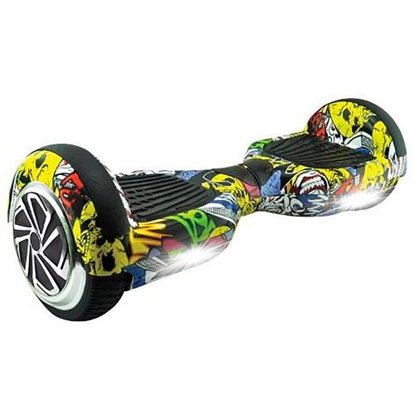 Whinck hoverboard grafitti amarillo scooter eléctrico con altavoz bluetooth 15km/h batería lg 15km autonomía mochila incluida