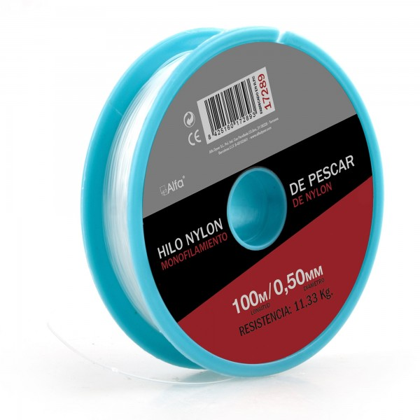 Hilo nylon blanco 0,6 mm. 100 m.