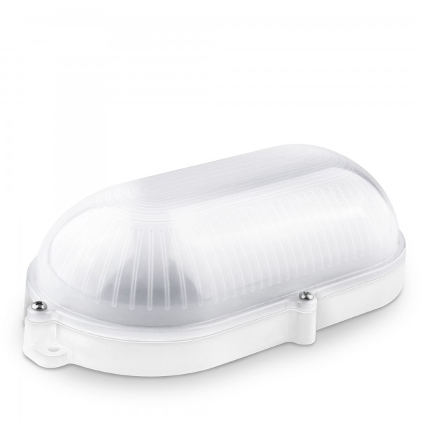 Aplique led oval blanco ext.ip65 9w.fria