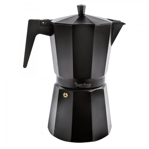 Cafetera supreme aluminio negra  6 t.