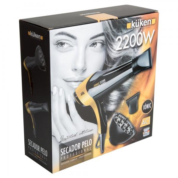 Secador pelo kuken 2200w ac negro/dorado