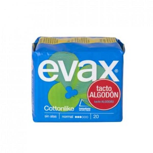 Evax compresas cottonlike normal sin alas 20 uds