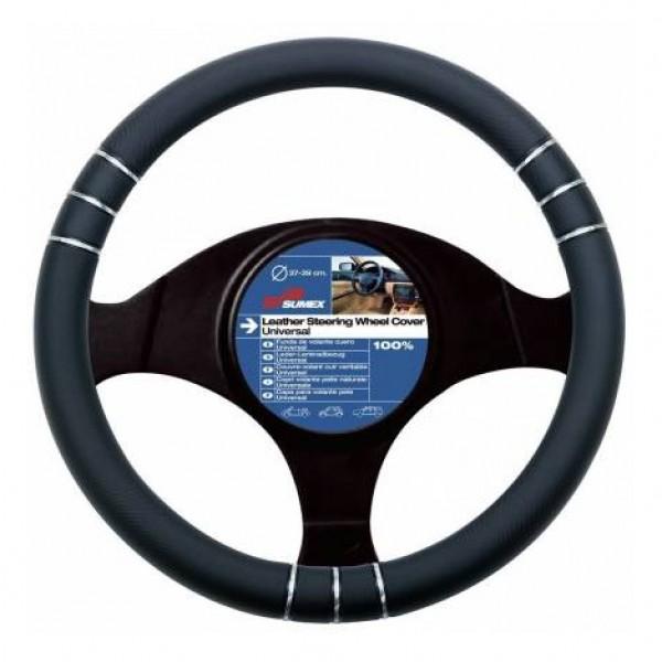 Funda de volante pvc negra 3-d