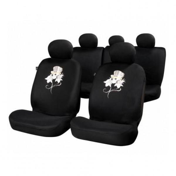 Fundas asiento textiles negras rose & skull