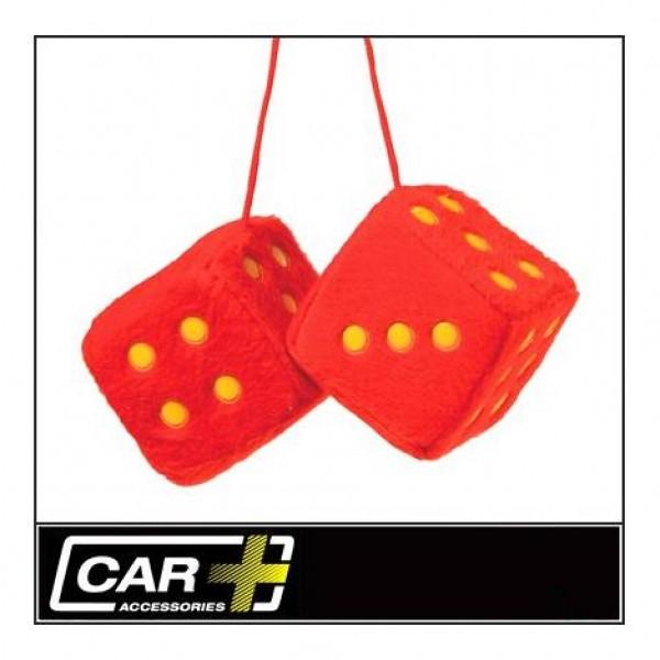 Dados rojos / puntos amarillos decorativos 7x7cm.