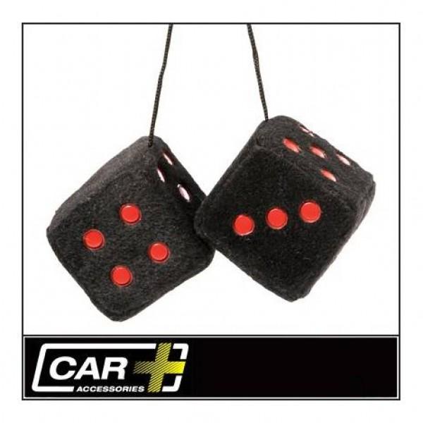 Dados negros/ puntos rojos decorativos 7x7cm.