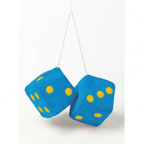 "Dados decorativos ""jumbo size"" azules. 9x9 cm."