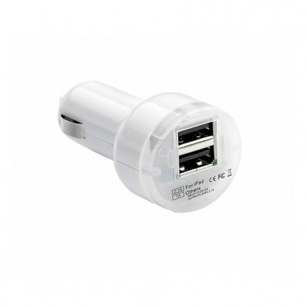 "Cargador doble usb de 2.1ma ""pulse mobile pro"" de color blanco.carga superrápida tablets y smartphones"