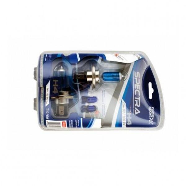 "Set bombillas ""spectra"" h4 12v 100w + t10 azul"