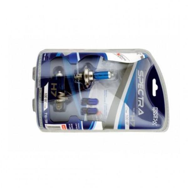 "Set bombillas ""spectra"" h7 12v 100w + t10 azul"