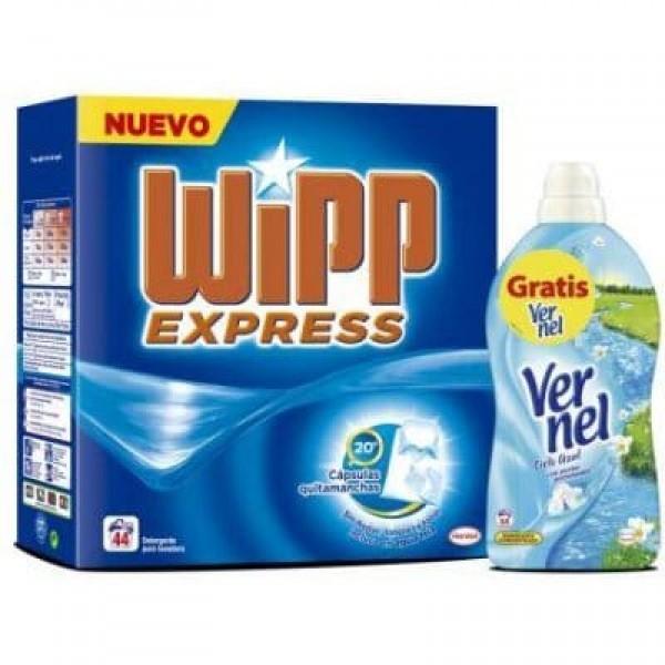 Wipp express maleta de 44 lavados + suavizante vernel 57 dosis