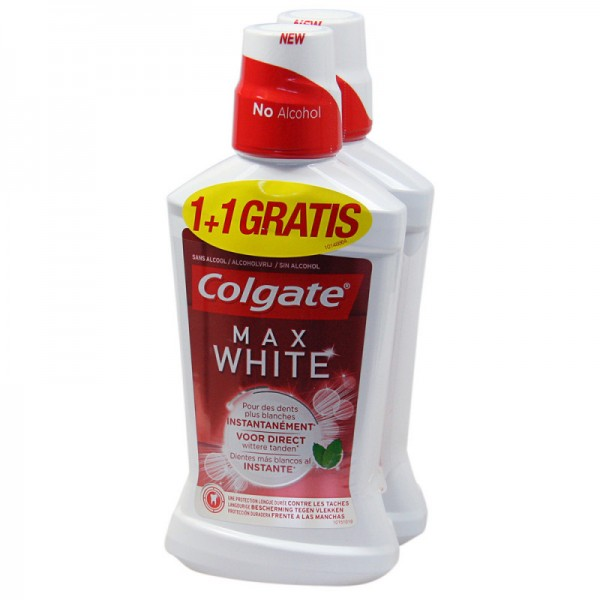 Colgate max white enjuague 2x1