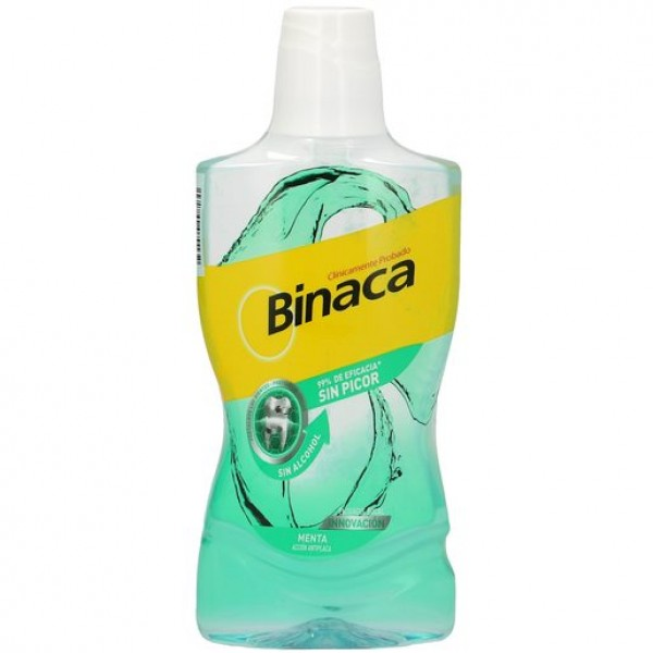 Binaca enjuague bucal antiplaca sin alcohol sabor menta botella 500 ml