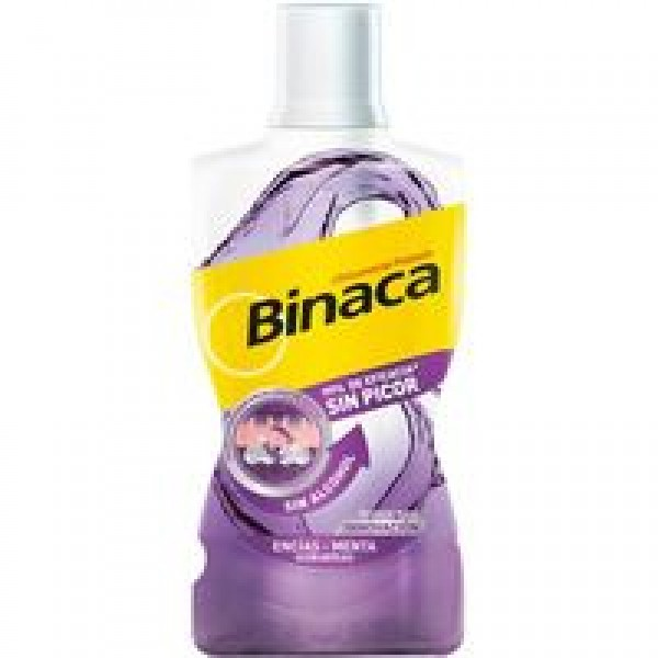 Binaca enjuague bucal antiplaca sin alcohol encias. botella 500 ml