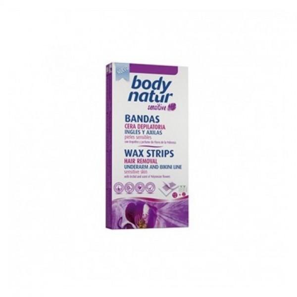 Body natur bandas cera depilatoria bikini y axilas 12u + 2 toallitas