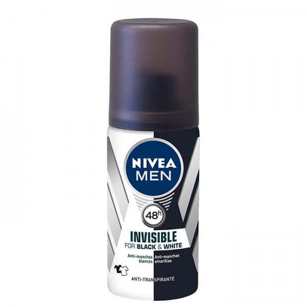 Nivea men invisible black & white desodorante spray tamaño viaje 35ml.