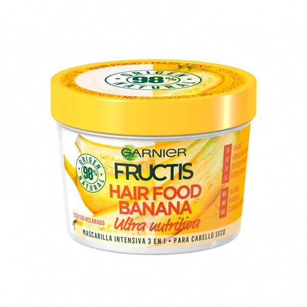 Fructis mascarilla intensiva hair food banana ultra nutritiva para cabello seco 390ml.