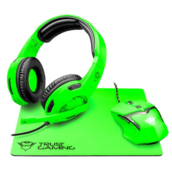 Trust gxt790-sg spectra gaming pack verde con auriculares, ratón y alfombrilla