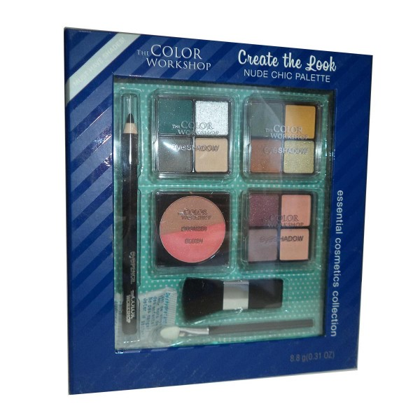 Markwins color workshop nude chic paleta sombra de ojos + lapiz + brochas