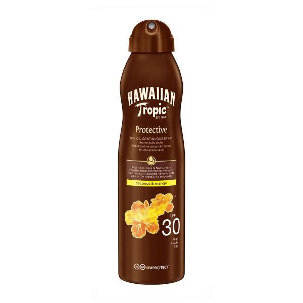 Hawaiian tropic protective dry oil continuous spray spf30 coconut & mango 180ml vaporizador