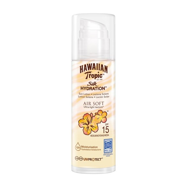 Hawaiian tropic silk hydration air soft ultra-light texture sun locion spf15 150ml