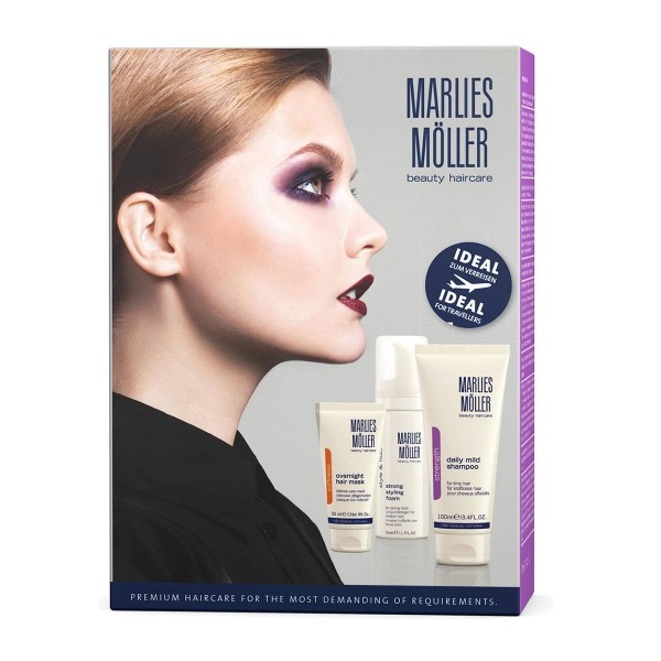 Marlies moller dialy mild champu 180ml + strong styling foam 50ml + overnight hair mask 30ml