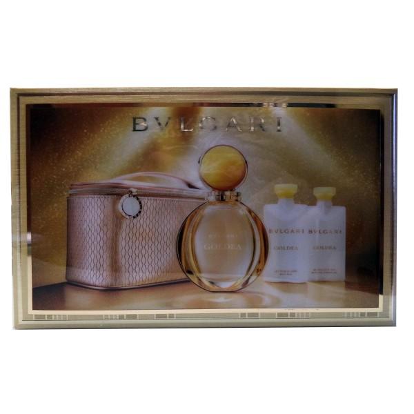 Bvlgari goldea eau de parfum 90ml vaporizador + leche corporal perfumado 75ml + gel de ducha 75ml + neceser
