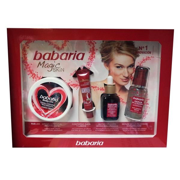 Babaria magic skin crema corporal reafirmante 100ml + contorno de ojos y labios 15ml + gotas de lluvia 30ml + serum anti-arrugas 50ml