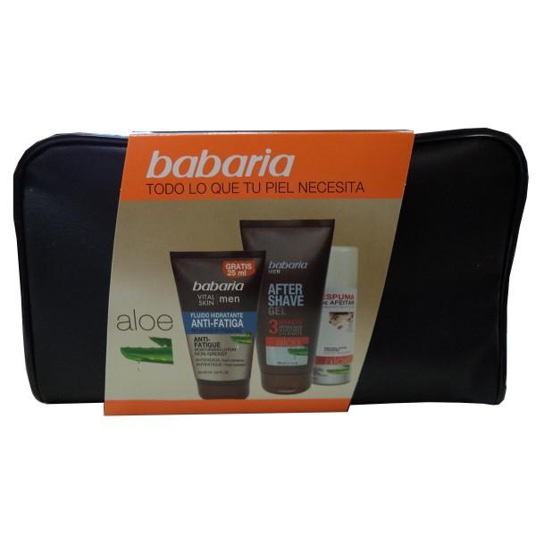 Babaria vital skin men fluido hidratante anti-fatiga 100ml + after shave gel 150ml + espuma de afeitar + neceser 1u.