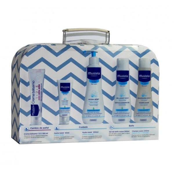 Mustela mi maletita azul crema balsamo + hydrabebe leche corporal 300ml + cuampu suave 200ml + hydrabebe crema facial 40ml + gel de baño suave 200ml