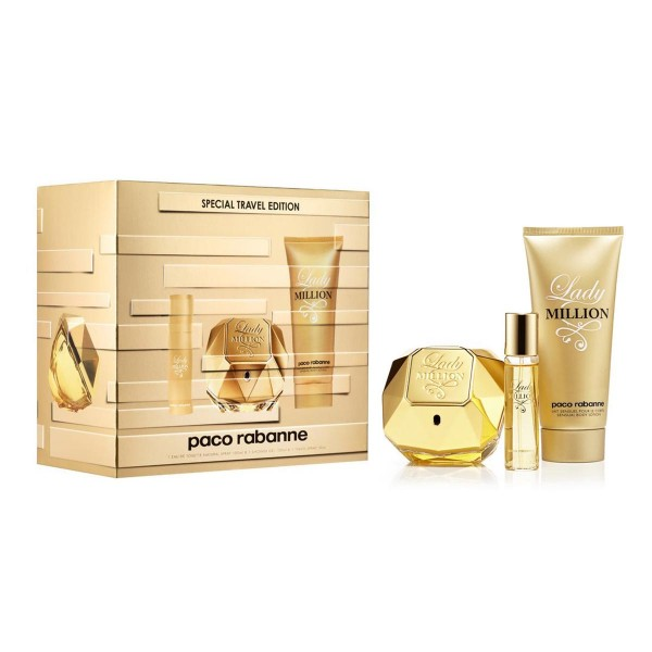 Paco rabanne lady million eau de parfum 80ml vaporizador + perfumed body lotion 100ml + miniatura 5ml