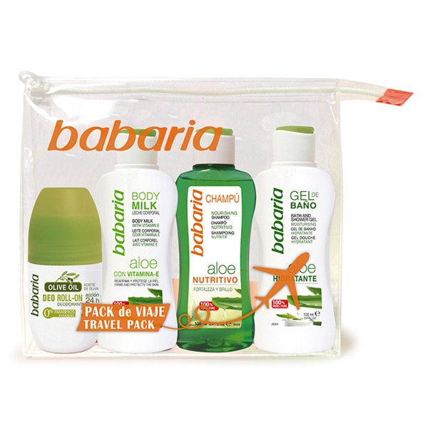 Babaria aloe champu 100ml + gel baño 100ml + body milk 100ml + desodorante 100ml