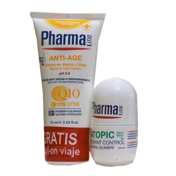 Pharmaline anti-age crema de manos 75ml + atopic desodorante control 25ml