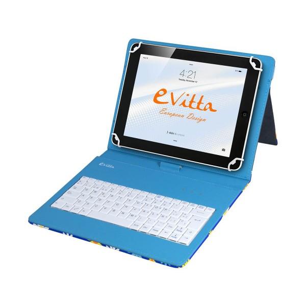 E-vitta evun000801 keytab usb azul flores funda con teclado tablets de 9.7'' a 10.1''