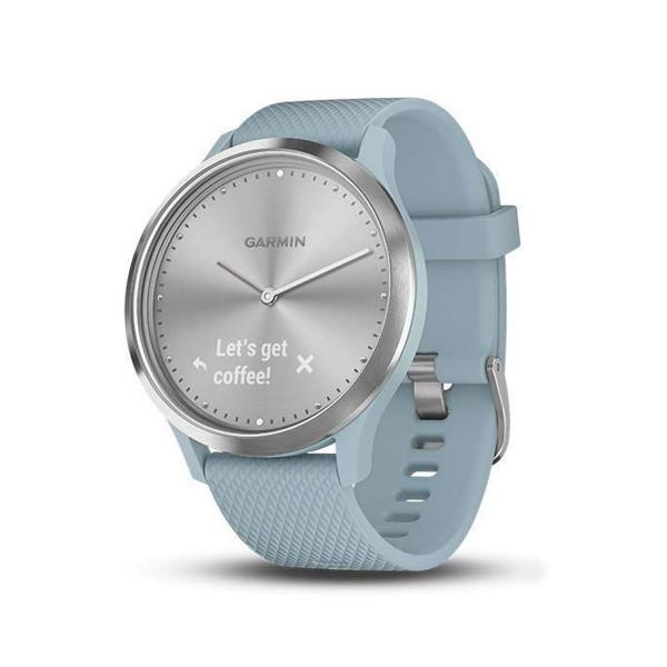 Garmin vivomove hr sport plata/azul reloj inteligente híbrido con control de frecuencia cardíaca y bluetooth